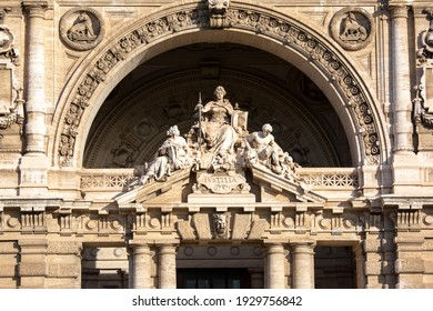 Rome, Italy - October 9, 2020: Facade of Palace of Justice seat of Supreme Court of Cassation (Corte di Cassazione), majestic building on the Tiber River
