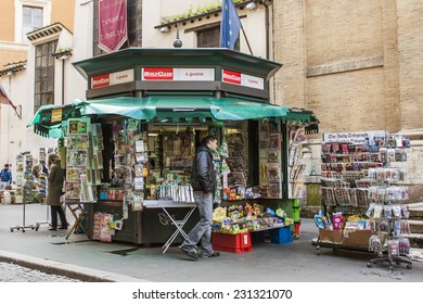 Rome, Italy, on February 21, 2010. Typical urban view. A newsstand on the street