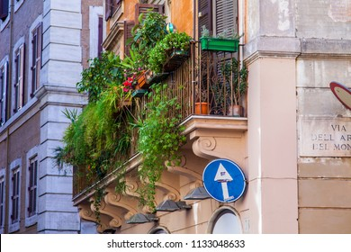 ROME, ITALY, on March 11, 2017. A facade of the old building in a historical part of the city. The picturesque balcony is decorated with natural plants