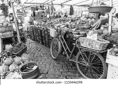 ROME, ITALY, on March 11, 2017. The market at Campo Di Fiori Square. Various vegetables and fruit are laid out on counters.