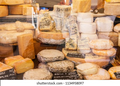 ROME, ITALY, on March 11, 2017. Various Italian farmer cheeses are laid out on market counters at Campo Di Fiori Square