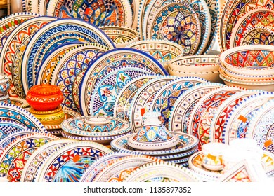 ROME, ITALY, on March 11, 2017. Various authentic Italian pottery on a market counter at Campo Di Fiori Square