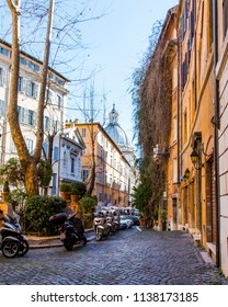 ROME, ITALY, on March 11, 2017. Motorcycles are parked on the beautiful street in a historical part of the city