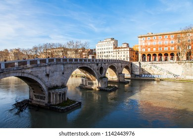 ROME, ITALY, on March 11, 2017. View of Tiber and its embankments. Ponte Sisto - the pedestrian bridge connecting the right coast of Tiber and the Region of Trastevere