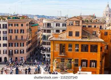 ROME, ITALY, on March 11, 2017. A view of city roofs from the Spanish ladder