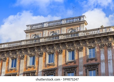 ROME, ITALY, on March 5, 2017. The sun lights a building facade in a historical part of the city