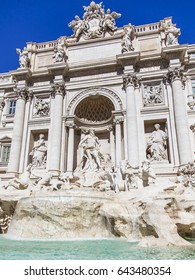 ROME, ITALY, on March 5, 2017. The sun lights Fontana di Trevi, created in 1732-1762 by Nicolo Salvi, adjoining Pauly's palace. The fountain one of city symbols, is imprinted in many movies