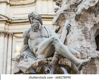 ROME, ITALY, on March 5, 2017. The bright sun lights Fontana dei Quattro Fiumi at Navon Square
