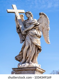 ROME, ITALY, on March 7, 2017. An ancient sculpture of an angel on a pedestrian bridge through the Tiber River