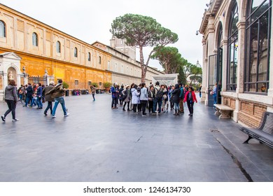 ROME, ITALY, on March 7, 2017. A view of the building of the Vatican Museums from the Vatican Gardens