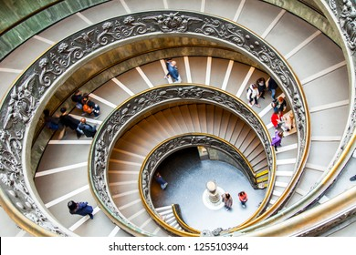 ROME, ITALY, on March 7, 2017. People go on a unique picturesque spiral staircase in the building of the Vatican Museums