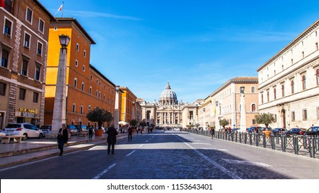 ROME, ITALY, on March 9, 2017. St. Peter's Cathedral in Vatican. Numerous people go along Via della Conciliazione Street