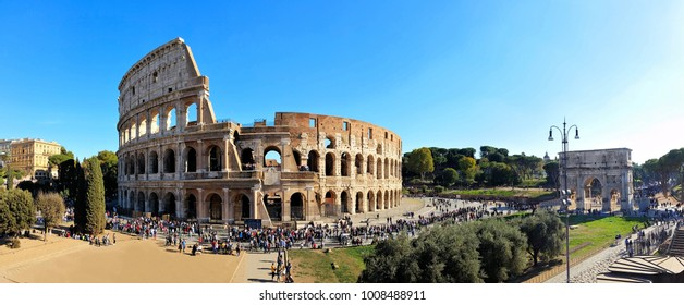 Rome, Italy panorama overlooking the ancient Coliseum and the Arch of Constantine
