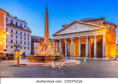 Rome, Italy. Pantheon temple, Rotonda square and Fountain at twilight.