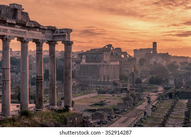 Rome, Italy: The Roman Forum, Latin: Forum Romanum, Italian: Foro Romano, in the spectacular sunrise. Beautiful representative picture of antique ruins. The historical center of the Forever City.
