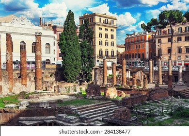 Rome, Italy. The ruins of ancient buildings in the center of Rome