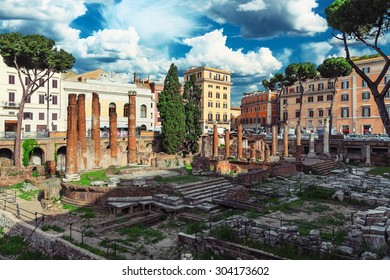 Rome, Italy. The ruins of ancient buildings in the center of city