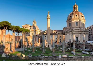 Rome, Italy. Ruins of the Roman Forum ( Foro Di Traiano ) at sunrise.