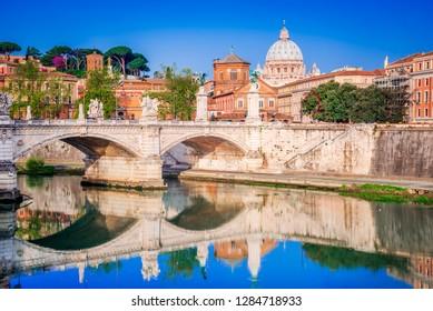 Rome, Italy. Saint Peters Basilica in night view, Vatican City, landmark of Roma, Italian capital city.