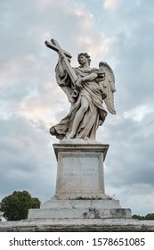 Rome, Italy - Sculpture of an angel Bernini on the Eliev Bridge of the Holy Angel
