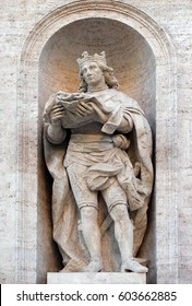 ROME, ITALY - SEPTEMBER 02: Statue of king St. Louis of France on the facade of Chiesa di San Luigi dei Francesi - Church of St Louis of the French, Rome, Italy on September 02, 2016.