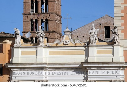 ROME, ITALY - SEPTEMBER 03: Basilica of Saint Sylvester the First (San Silvestro in Capite) in Rome, Italy on September 03, 2016.