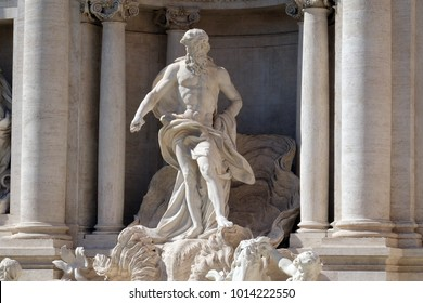 ROME, ITALY - SEPTEMBER 03: Ocean, the main statue of the Trevi Fountain in Rome. Fontana di Trevi is one of the most famous landmark in Rome, Italy on September 03,2016.