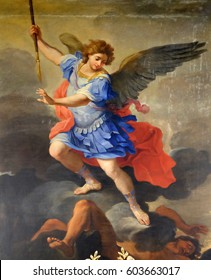 ROME, ITALY - SEPTEMBER 03: St Michael the Archangel, altarpiece by Ludovico Gimignani in Chapel of St Michael the Archangel, Basilica di Sant Andrea delle Fratte, Rome, Italy on September 03, 2016.
