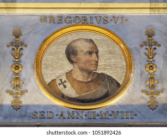 ROME, ITALY - SEPTEMBER 05, 2016: image of Pope Gregory VI, was Pope from 1 May 1045 until his abdication at the Council of Sutri on 20 December 1046, basilica of Saint Paul Outside the Walls, Rome.