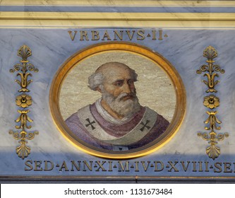 ROME, ITALY - SEPTEMBER 05: Pope Urban II, born Odo of Chatillon or Otho de Lagery, was Pope from 12 March 1088 to his death in 1099, basilica of Saint Paul Outside the Walls, Rome, Italy.
