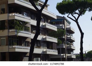 Rome, Italy - September 08 2018, palazzine con pini along via Gregorio VII.