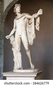 Rome, Italy - September 1, 2009 : The Apollo of the Belvedere is Roman copy of Hadrianic date (ca. 120-140) of a lost bronze original made by the Greek sculptor Leochares. Belvedere courtyard, Vatican