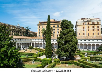 Rome, Italy - September 1, 2017: Baths of Diocletian (italian: Terme di Diocleaziano), an archeological roman museum in the center of the Italy's capital.