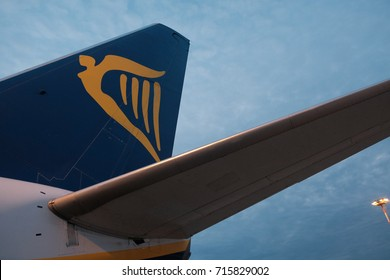 Rome, Italy - September 1, 2017: logo of Ryanair airplane. Ryanair Ltd. is an Irish low-cost airline with its primary operational bases at Dublin and London Stansted Airports