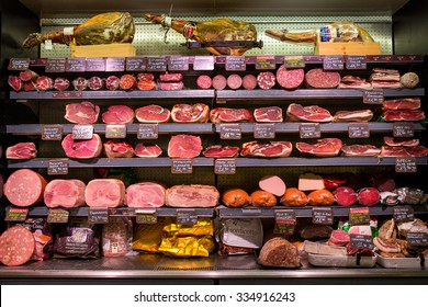 ROME, ITALY - September 10, 2015: Various Italian meat products in the shop,in Rome, Italy