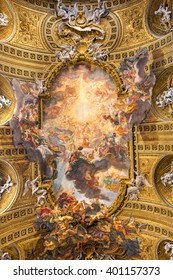 Rome, Italy - September 10, 2015: Chorus of Basilica Il Gesu, Rome, Italy. Ceiling view