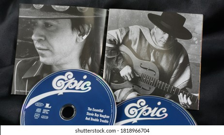 Rome, Italy - September, 10 2020, The Essential Stevie Ray Vaughan and Double Trouble compilation, released by Epic Records with tracks from '80 to '90 including live songs on two discs.