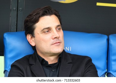 ROME, ITALY - SEPTEMBER 10,2017:  Vincenzo Montella coach of AC Milan during fotball match serie A League 2017/2018 between SS Lazio vs AC Milan at the Olimpic Stadium on September 10, 2017 in Rome.