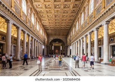 ROME, ITALY - SEPTEMBER 13, 2013: Interior of Basilica di Santa Maria Maggiore, Rome, Italy
