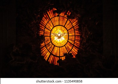 Rome, Italy - September 13, 2017: Interior of Saint Peter's Basilica. Sculptural composition in the altar of St. Peter's Cathedral in the Vatican, created by Giovanni Lorenzo Bernini.