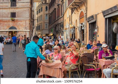 Rome, Italy - September 13, 2019: Restaurant & Pizzeria in Rome