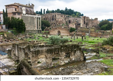 ROME ITALY - SEPTEMBER 15 2013:  Roman Forum ruins in Rome with rainy weather