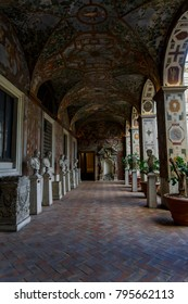 Rome, Italy - September 16 2017: National Roman Museum Palazzo Altemps. Various exhibits at a corridor leading to rooms with museum collections.