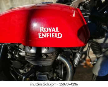 Rome, Italy - September, 16 2019, detail of a Royal Enfield motorcycle, the name with which the Enfield Cycle Company built motorcycles, bicycles, agricultural and industrial machinery.