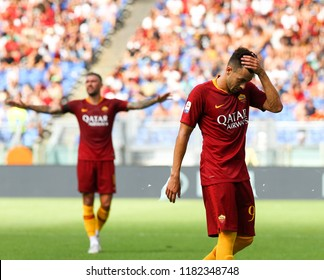 ROME, ITALY - SEPTEMBER 16,2018: Stephan El Shaarawi during football match serie A League 2018/2019 between AS Roma vs ChievoVerona at the Olimpic Stadium in Rome.