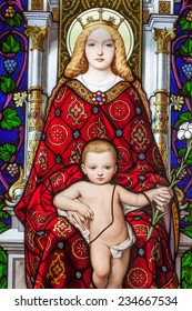 ROME, ITALY - SEPTEMBER 18: Mother and Child, stained glass in Vatican Museum on September 18, 2010 in Rome, Italy