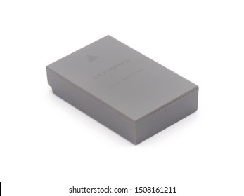 ROME, ITALY - SEPTEMBER 19, 2019. Olympus Li-ion battery BLS-50 isolated on white background. Olympus Corporation is a Japanese manufacturer of optics and reprography products.