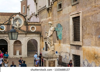 Rome, Italy - September 2, 2017: Saint Michael archangel sculpture at the ancient Castel Sant'Angelo. Sculpted by sculptor Raffaello da Montelupo. Rome, Italy.