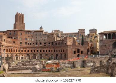 ROME, ITALY - SEPTEMBER 2, 2019: View of the Mercati di Traiano