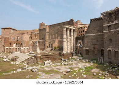 ROME, ITALY - SEPTEMBER 2, 2019: View of the Foro di Nerva and Foro di Augusto